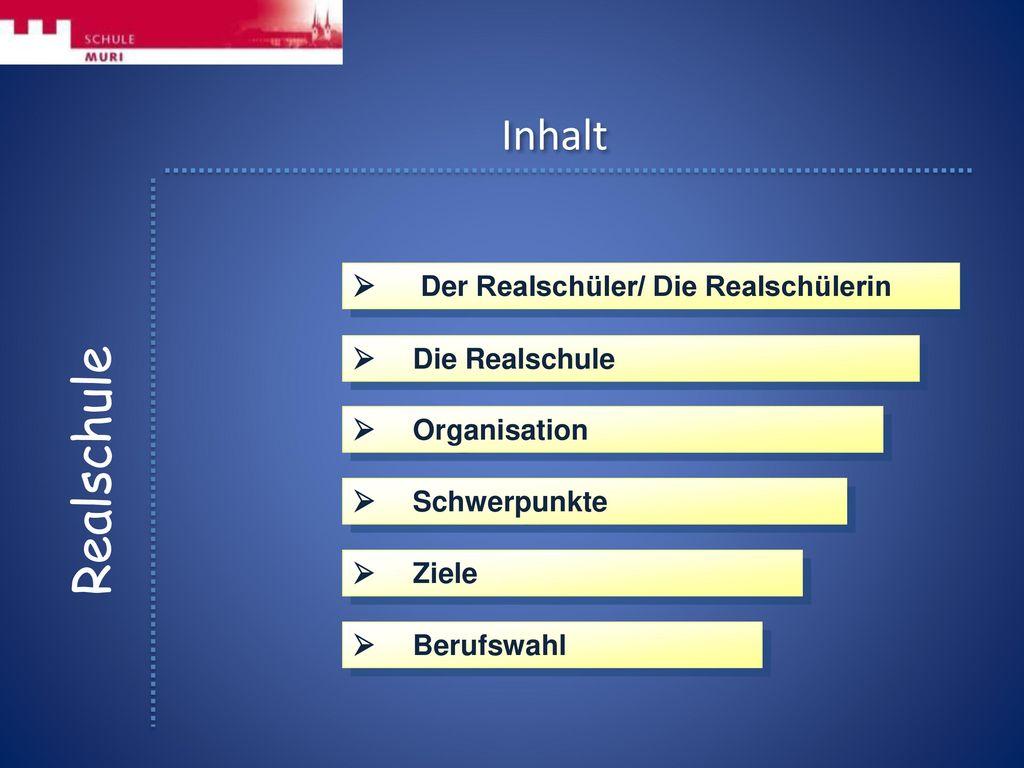 Realschule Inhalt  Der Realschüler/ Die Realschülerin
