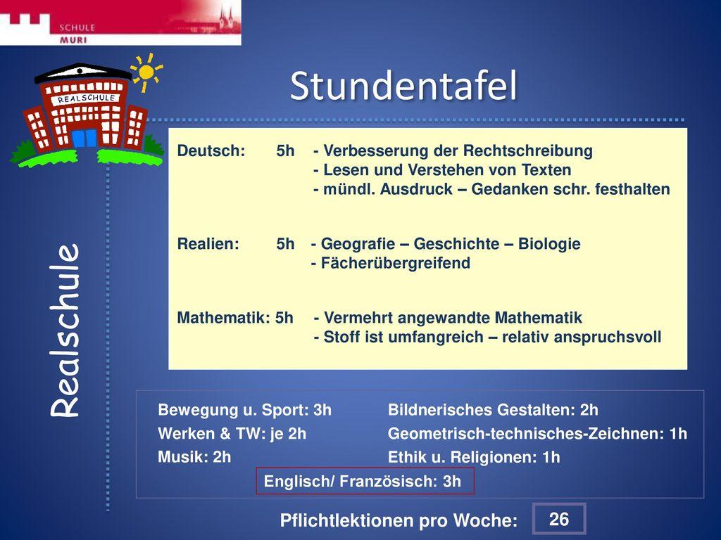 Stundentafel Realschule Pflichtlektionen pro Woche: 26