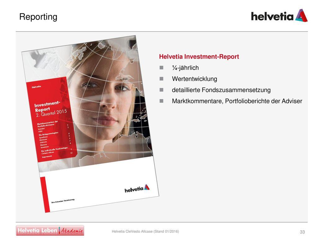 Reporting Helvetia Investment-Report ¼-jährlich Wertentwicklung