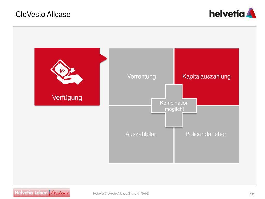 CleVesto Allcase Verfügung Verrentung Kapitalauszahlung Auszahlplan