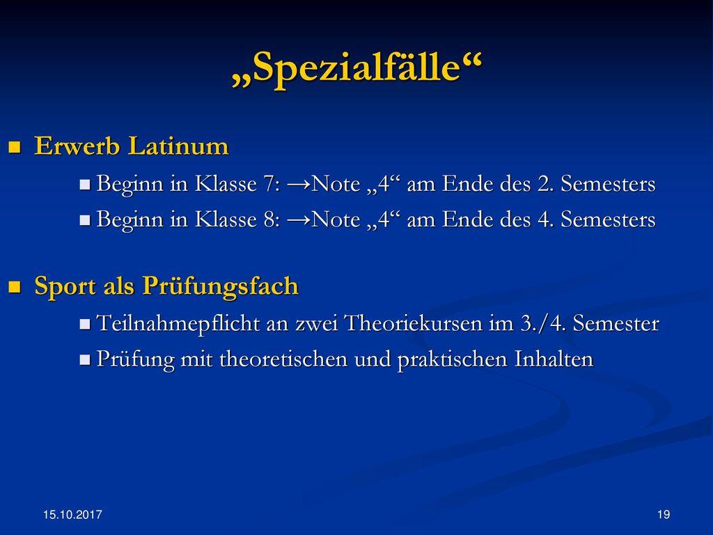 """""""Spezialfälle Erwerb Latinum Sport als Prüfungsfach"""