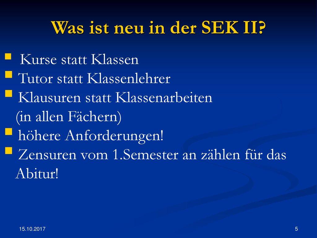 Was ist neu in der SEK II Tutor statt Klassenlehrer