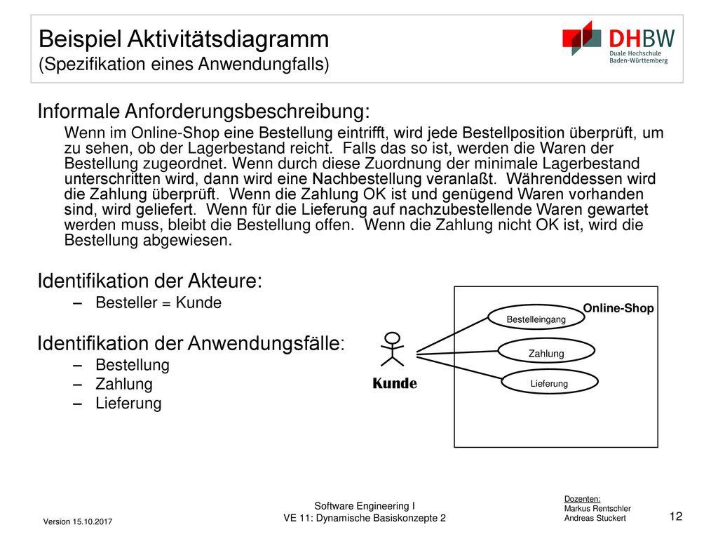 Beispiel Aktivitätsdiagramm (Spezifikation eines Anwendungfalls)