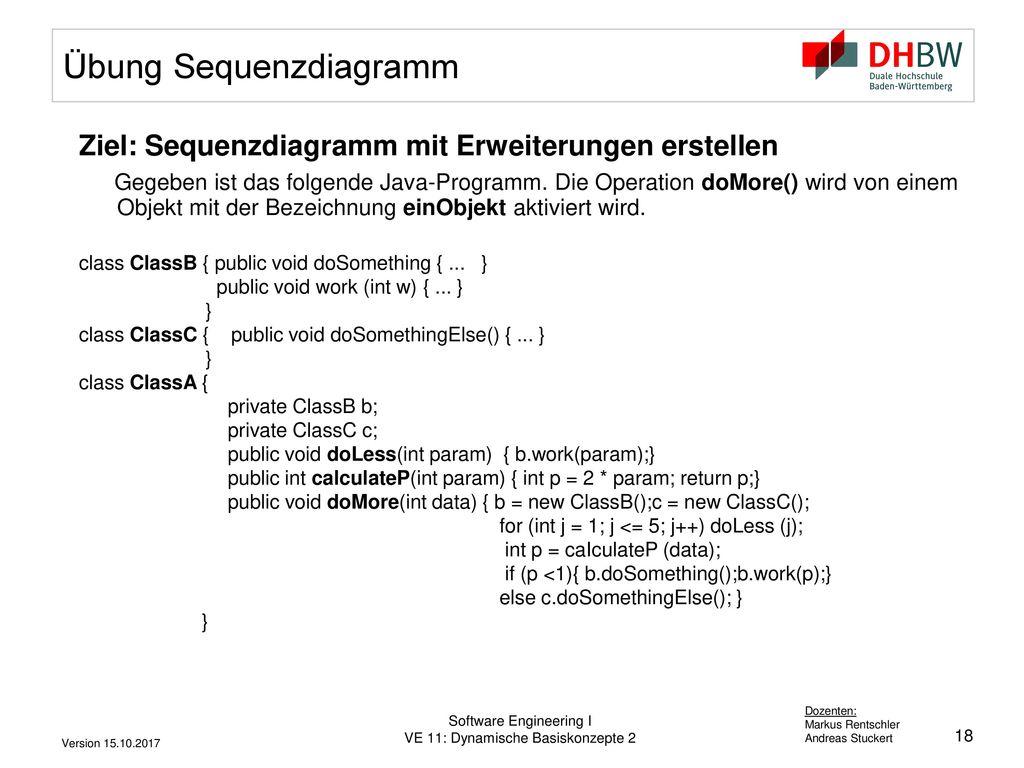 Übung Sequenzdiagramm