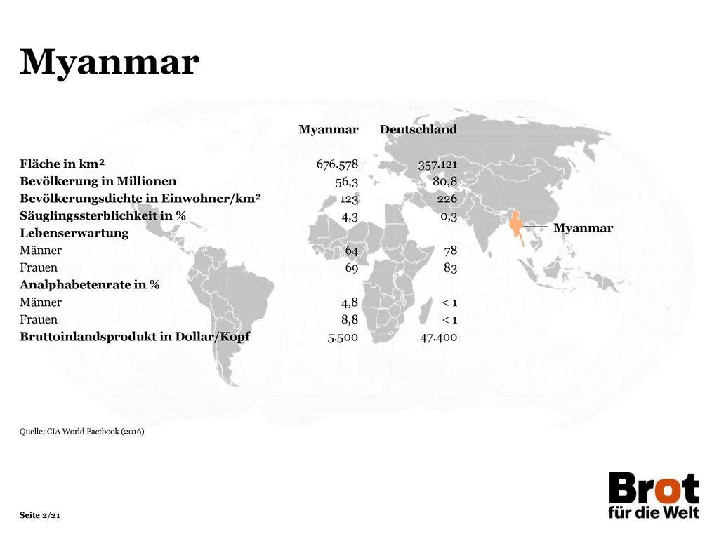 Myanmar Myanmar Deutschland Fläche in km² 676.578 357.121