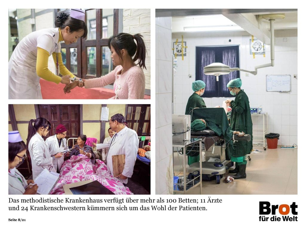 Das methodistische Krankenhaus verfügt über mehr als 100 Betten; 11 Ärzte und 24 Krankenschwestern kümmern sich um das Wohl der Patienten.