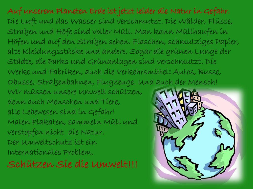 Schützen Sie die Umwelt!!!