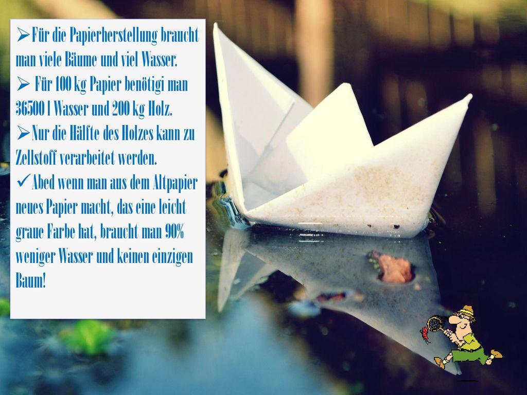 Für die Papierherstellung braucht man viele Bäume und viel Wasser.