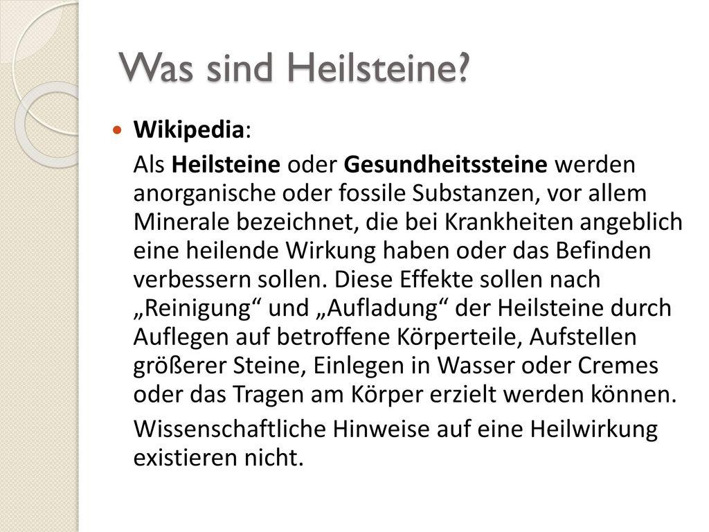 Was sind Heilsteine Wikipedia: