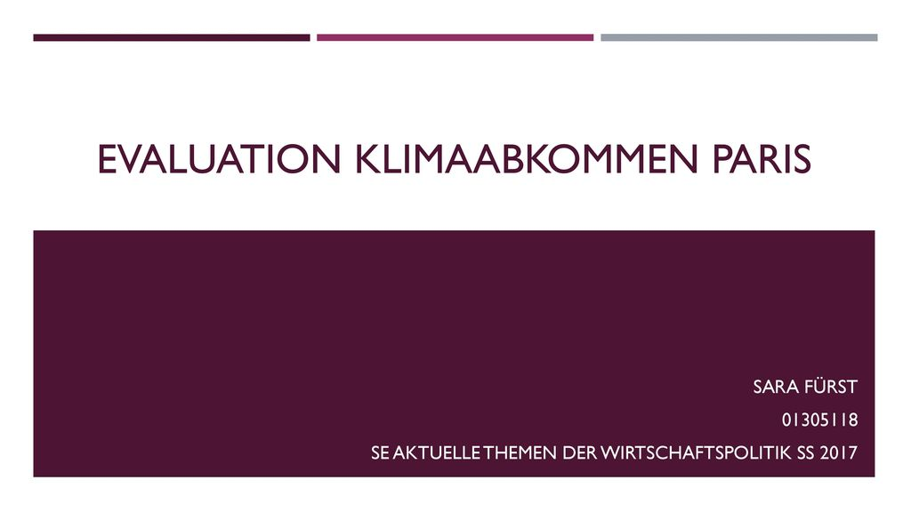 Evaluation Klimaabkommen Paris