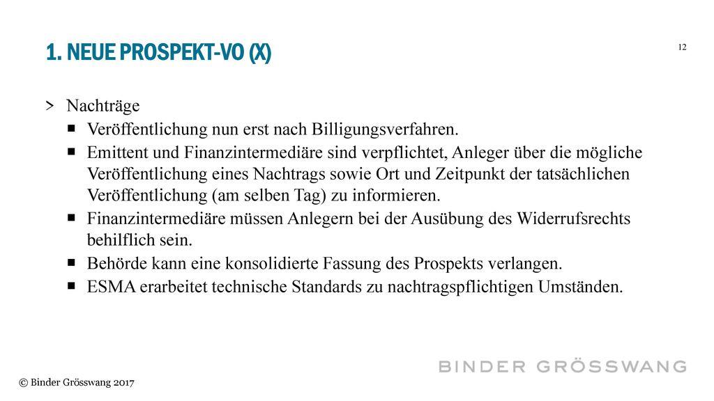 1. Neue Prospekt-vo (X) Nachträge