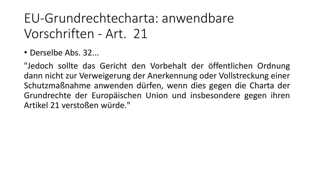 EU-Grundrechtecharta: anwendbare Vorschriften - Art. 21