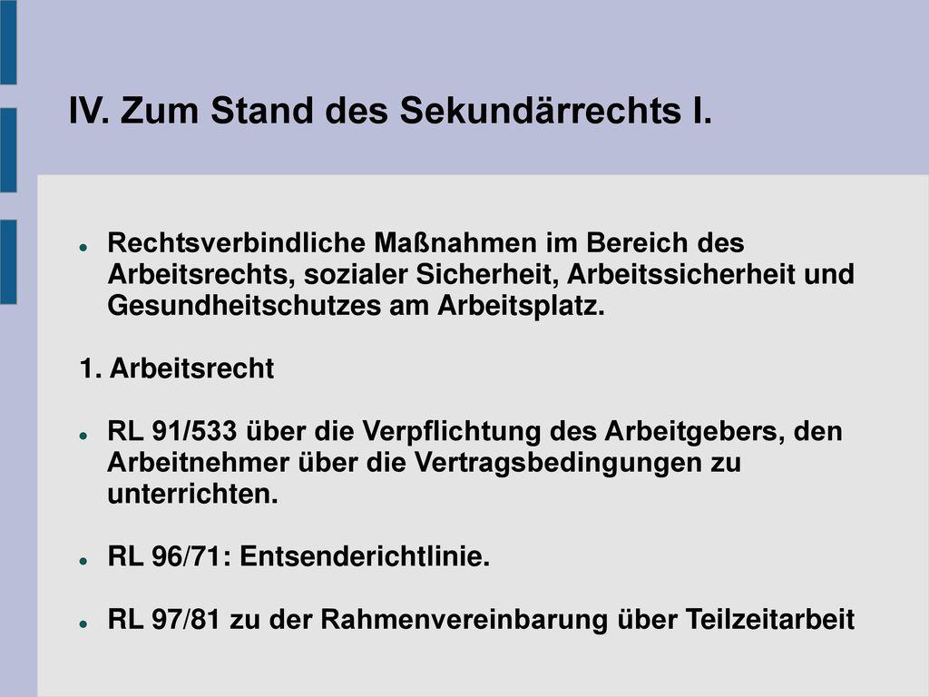 IV. Zum Stand des Sekundärrechts I.