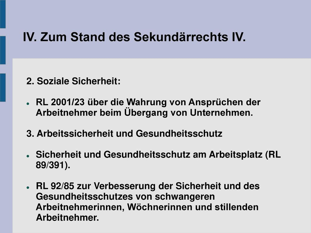 IV. Zum Stand des Sekundärrechts IV.