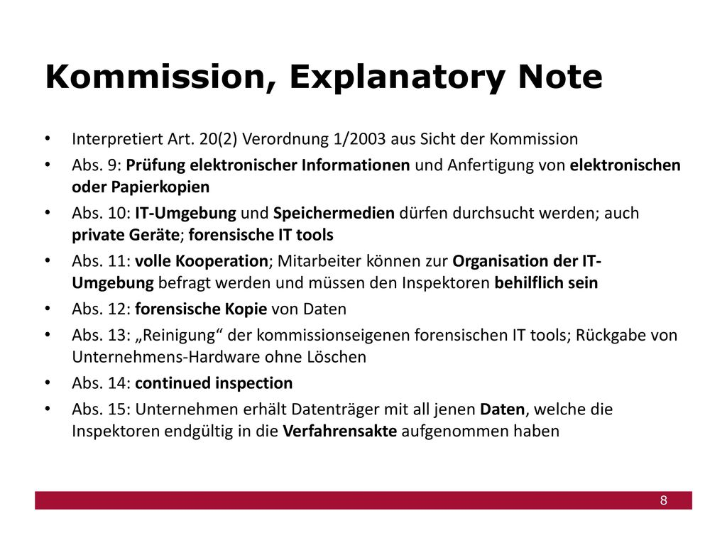 Kommission, Explanatory Note