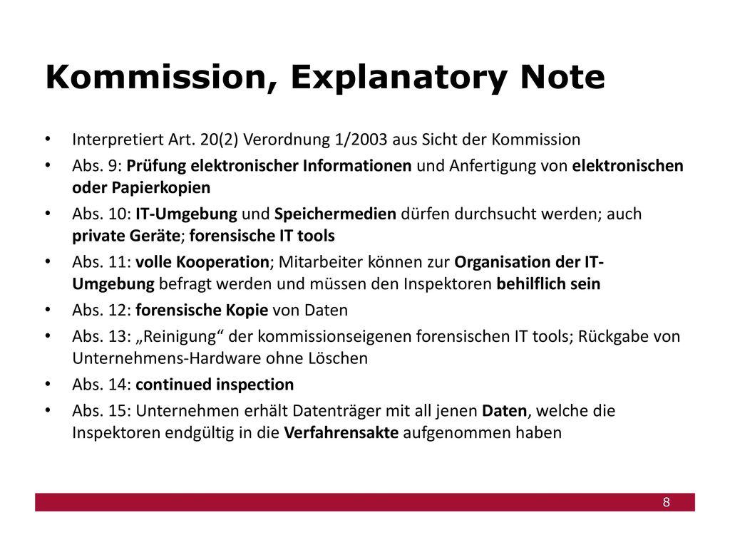 Kommission, Explanatory Note