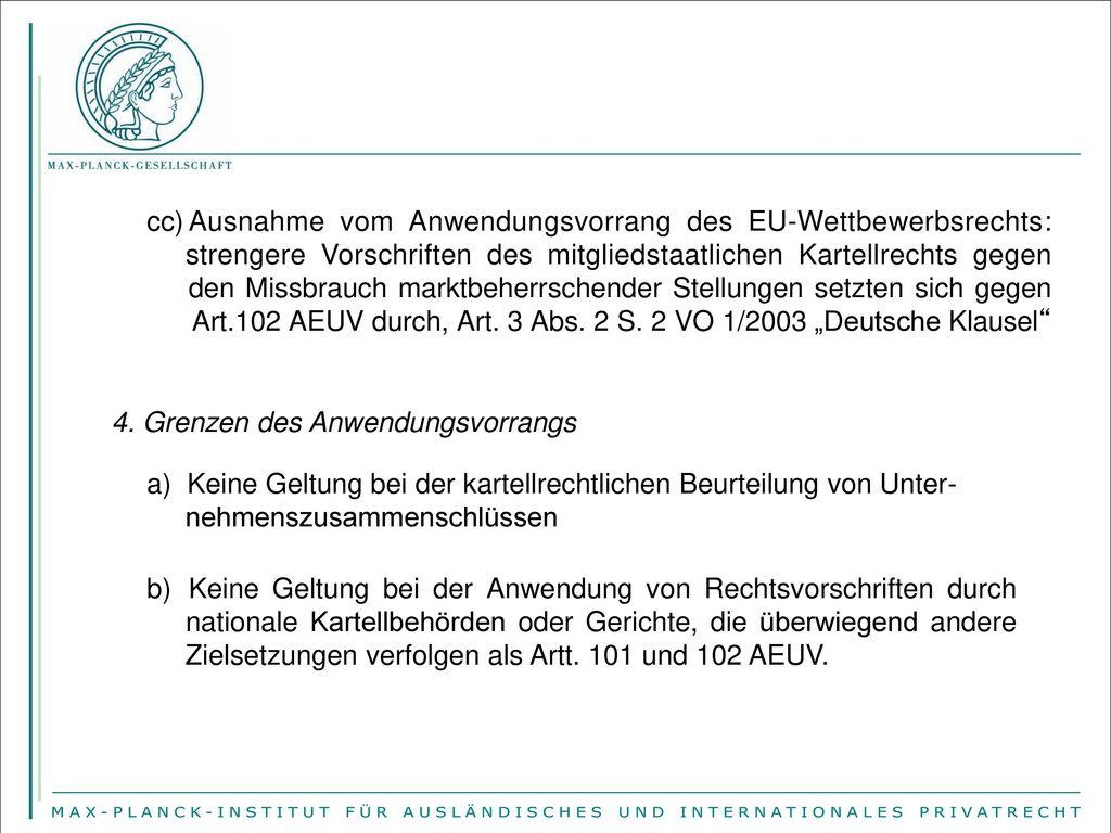 Ausnahme vom Anwendungsvorrang des EU-Wettbewerbsrechts: