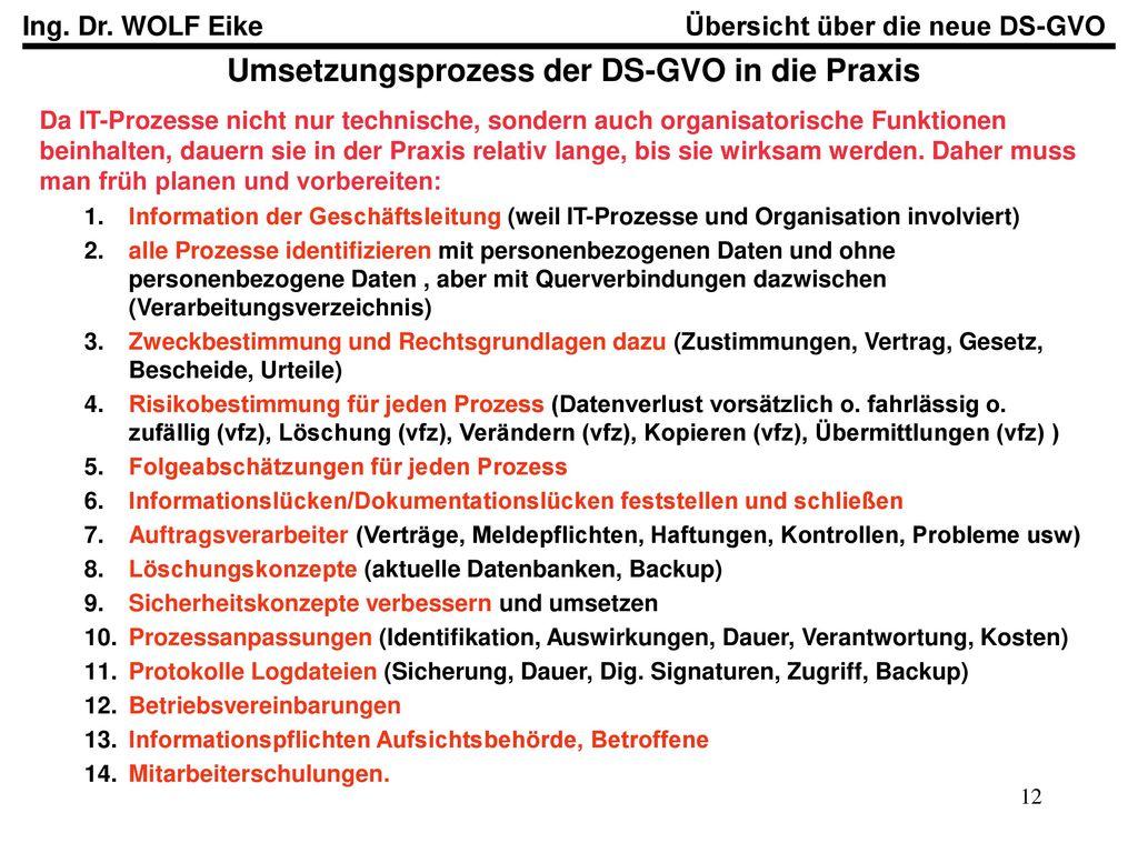Umsetzungsprozess der DS-GVO in die Praxis