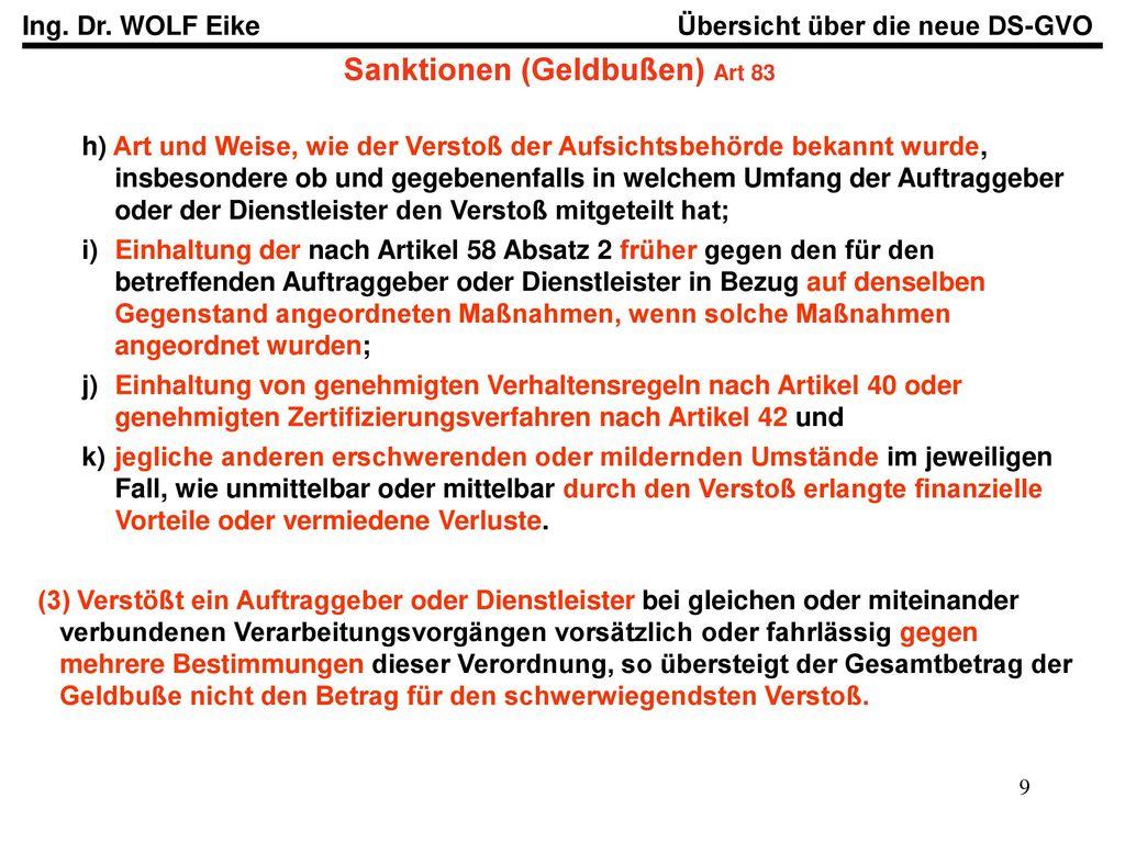 Sanktionen (Geldbußen) Art 83