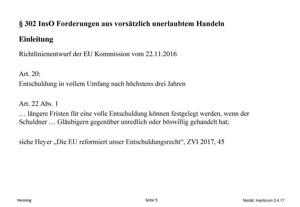 § 302 InsO Forderungen aus vorsätzlich unerlaubtem Handeln Einleitung