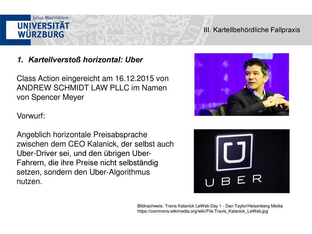 Kartellverstoß horizontal: Uber
