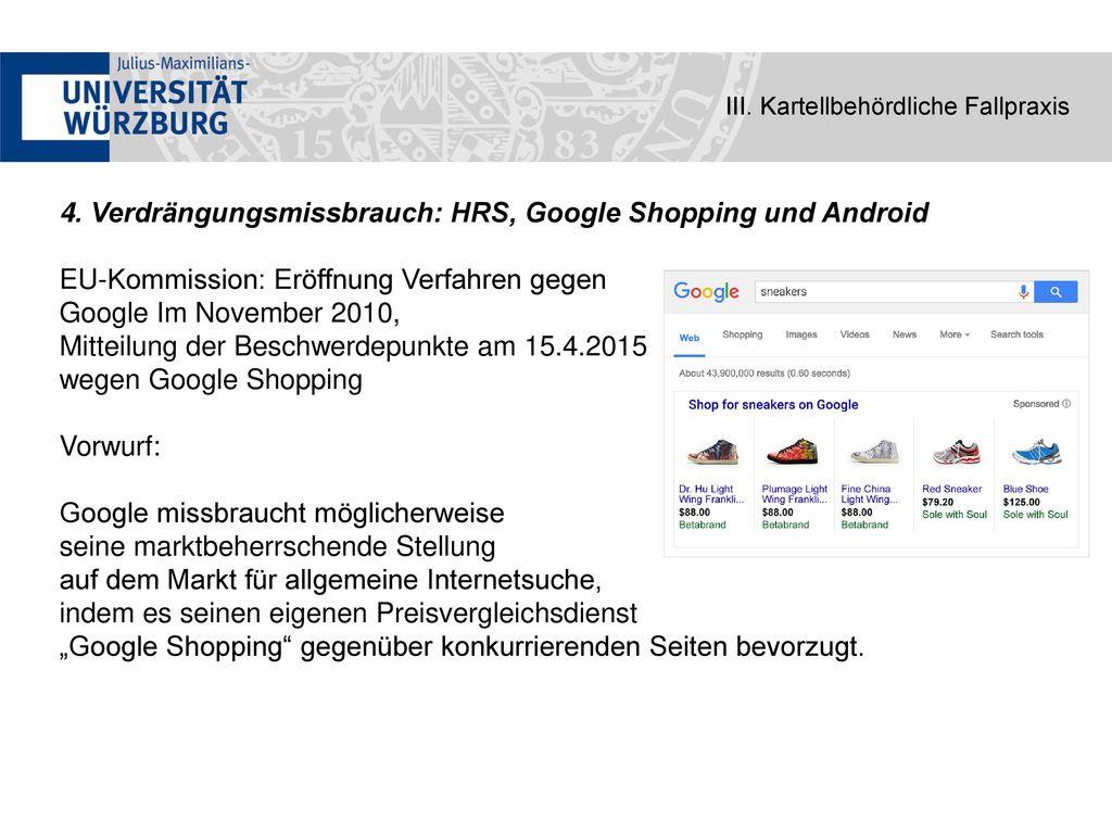 4. Verdrängungsmissbrauch: HRS, Google Shopping und Android