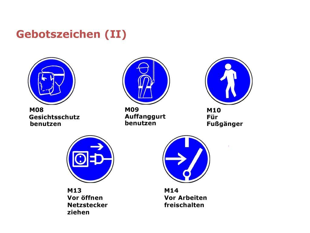 Gebotszeichen (II) Gesichtsschutz M08 benutzen M09 Auffanggurt