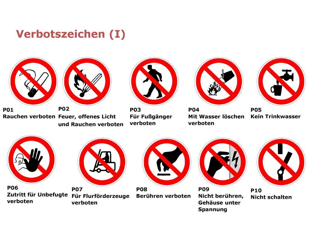 Verbotszeichen (I) P01 Rauchen verboten P02 Feuer, offenes Licht