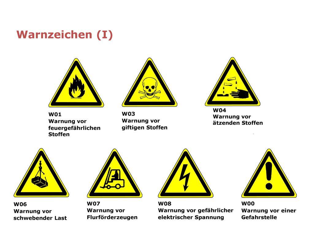 Warnzeichen (I) W01 Warnung vor feuergefährlichen Stoffen W03