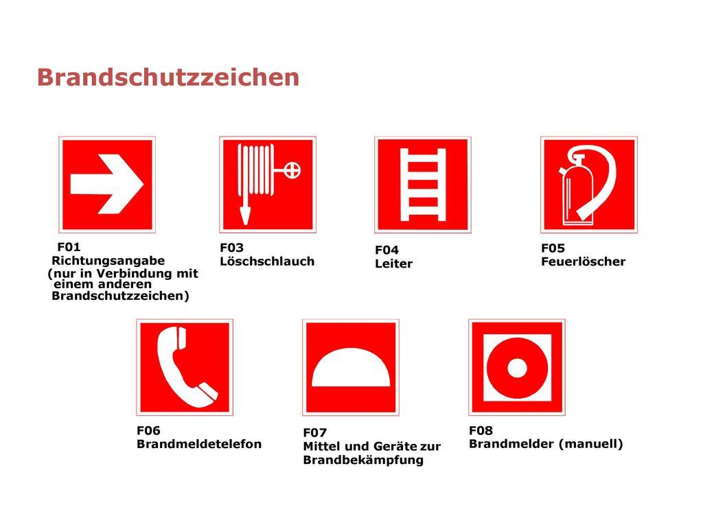 Brandschutzzeichen F01 Richtungsangabe (nur in Verbindung mit