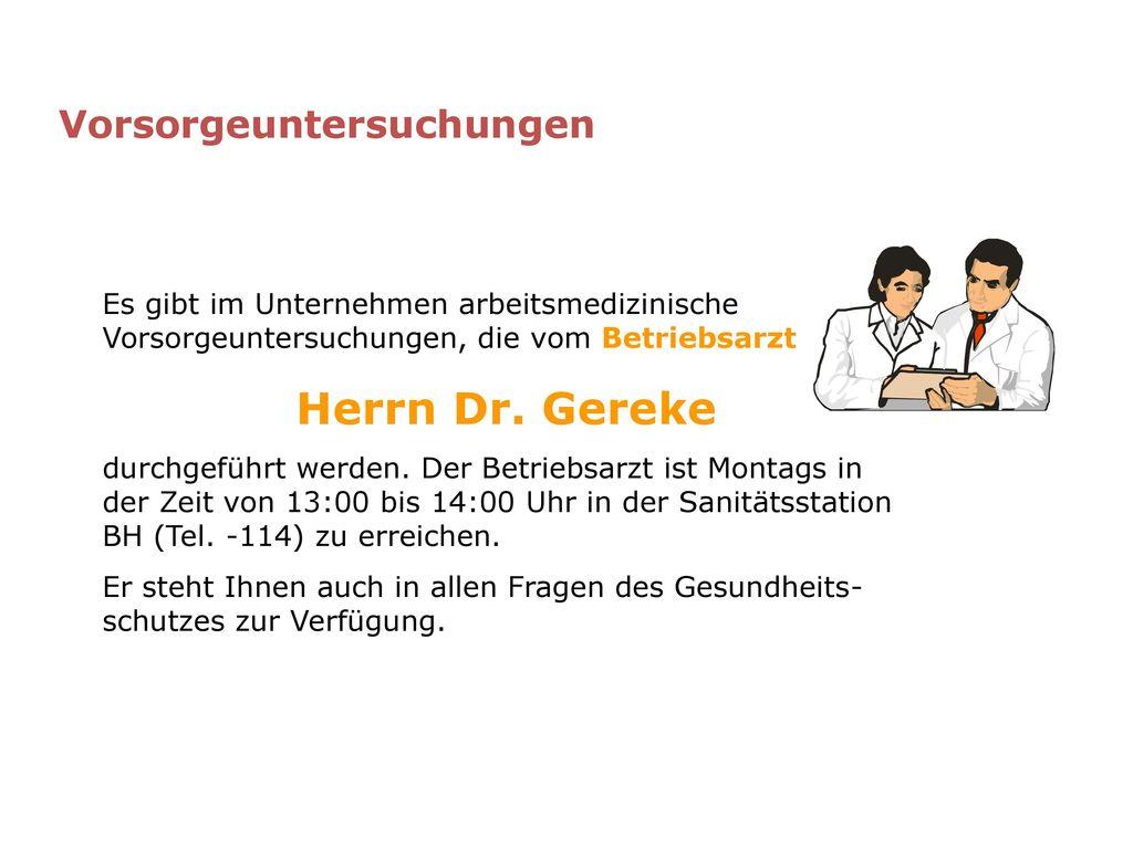 Herrn Dr. Gereke Vorsorgeuntersuchungen