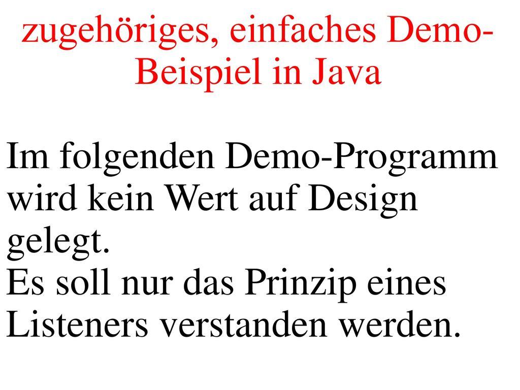 zugehöriges, einfaches Demo-Beispiel in Java