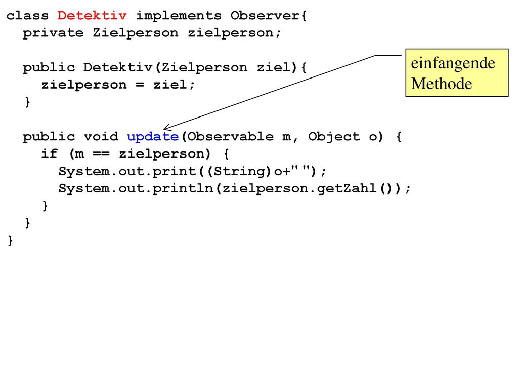 einfangende Methode class Detektiv implements Observer{