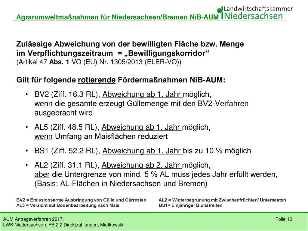 Gilt für folgende rotierende Fördermaßnahmen NiB-AUM: