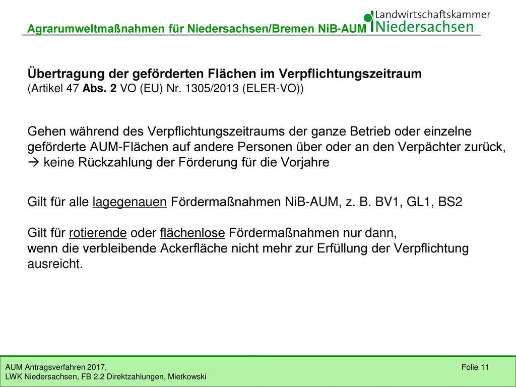Gilt für alle lagegenauen Fördermaßnahmen NiB-AUM, z. B. BV1, GL1, BS2