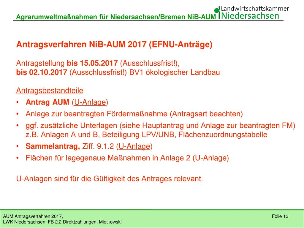 Antragsverfahren NiB-AUM 2017 (EFNU-Anträge)