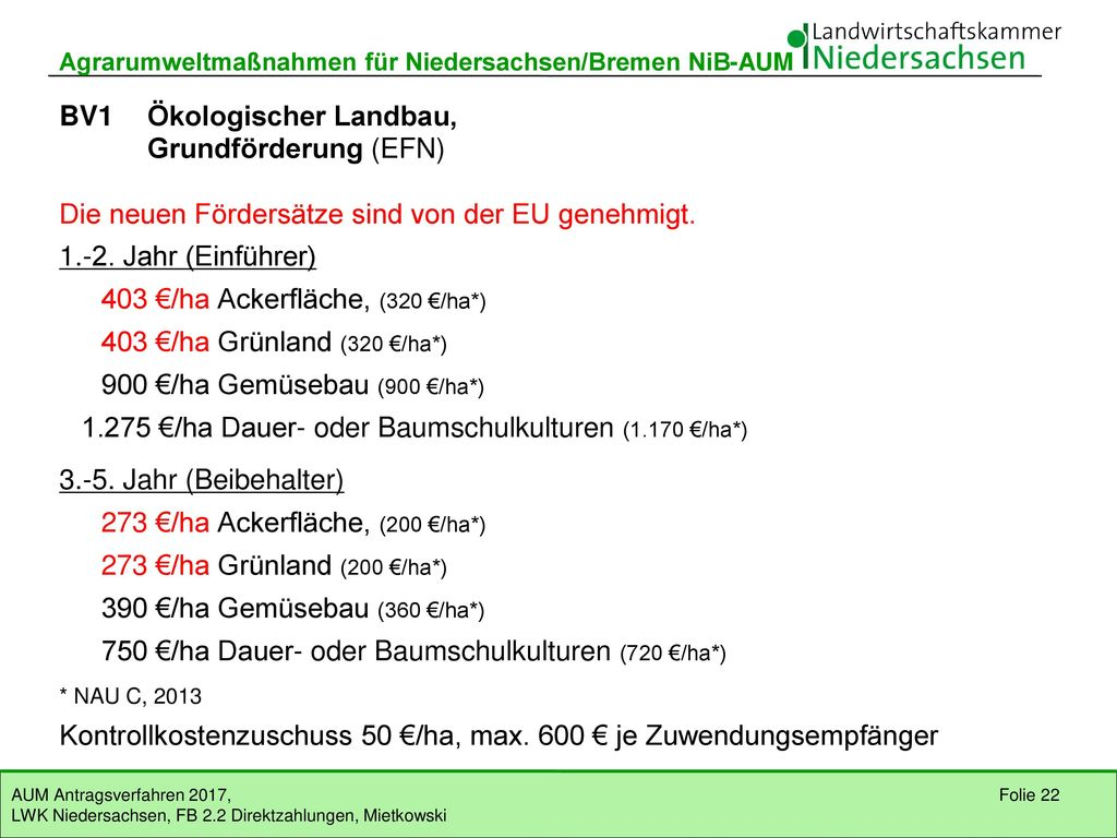 BV1 Ökologischer Landbau, Grundförderung (EFN)