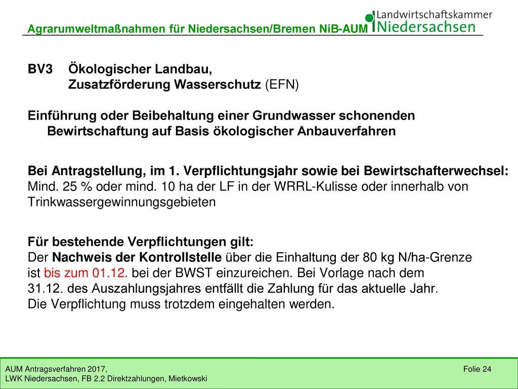 BV3 Ökologischer Landbau, Zusatzförderung Wasserschutz (EFN)