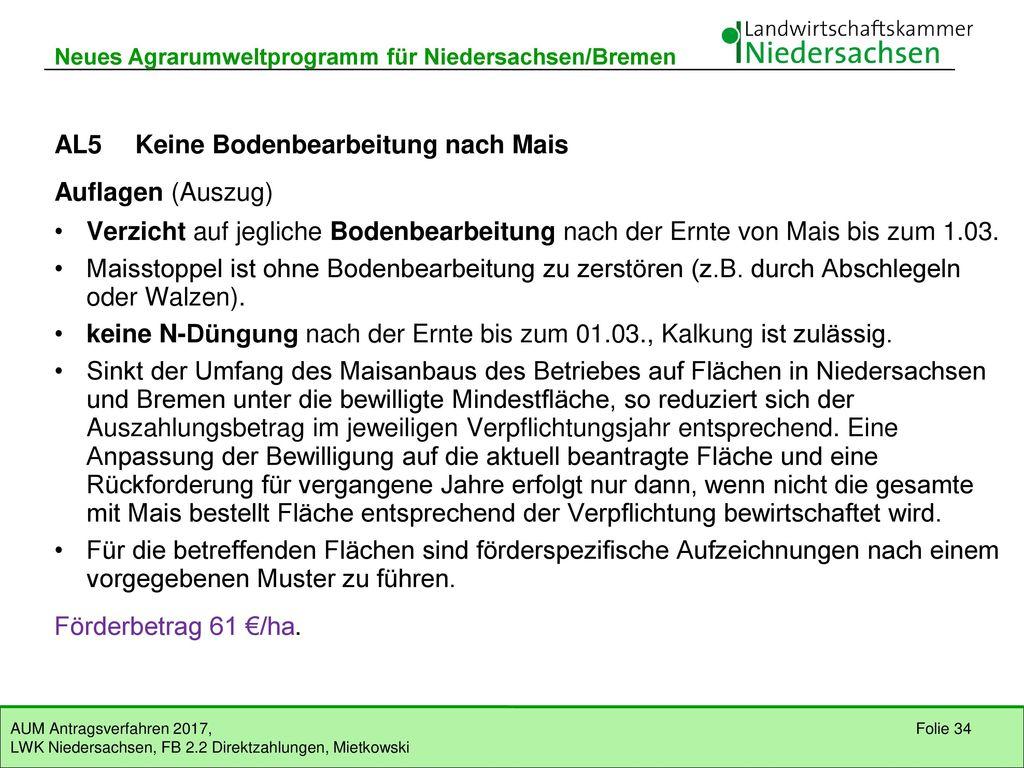 AL5 Keine Bodenbearbeitung nach Mais Auflagen (Auszug)
