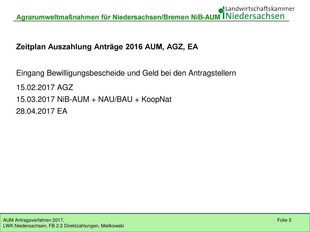 Zeitplan Auszahlung Anträge 2016 AUM, AGZ, EA