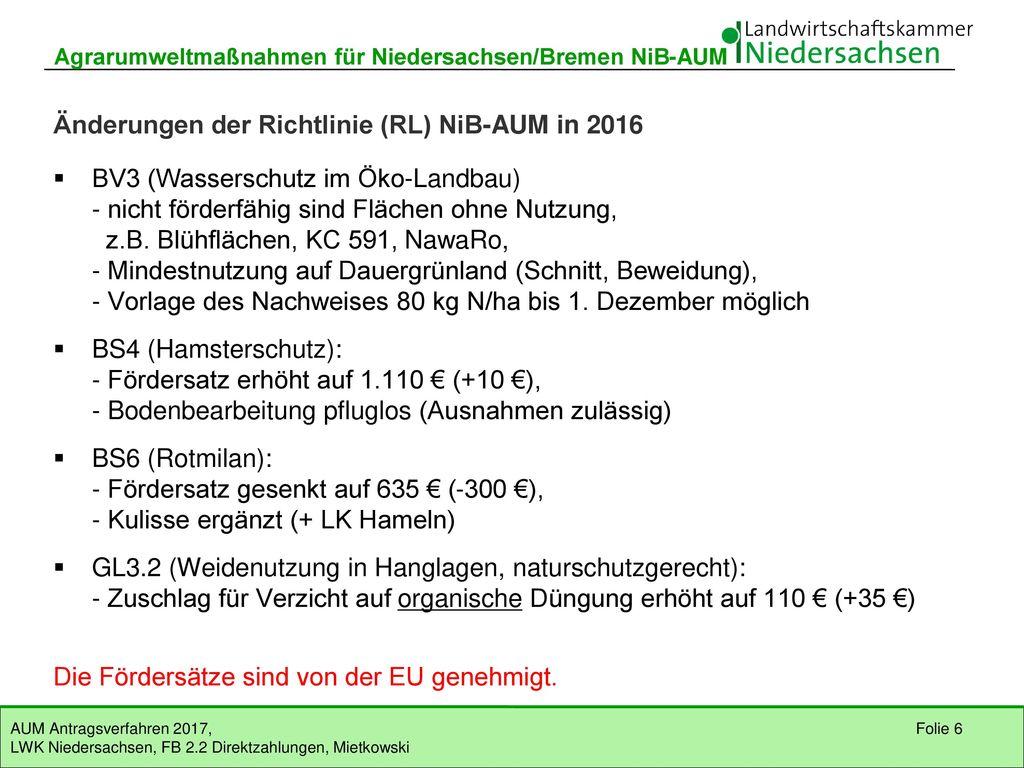 Änderungen der Richtlinie (RL) NiB-AUM in 2016
