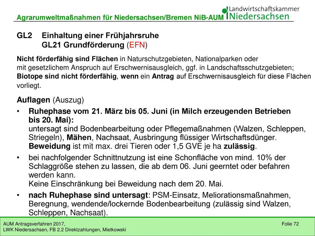 GL1 Extensive Bewirtschaftung GL11 Grundförderung (EFN)
