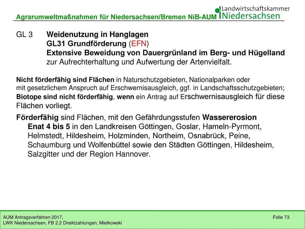 GL2 Einhaltung einer Frühjahrsruhe GL21 Grundförderung (EFN)