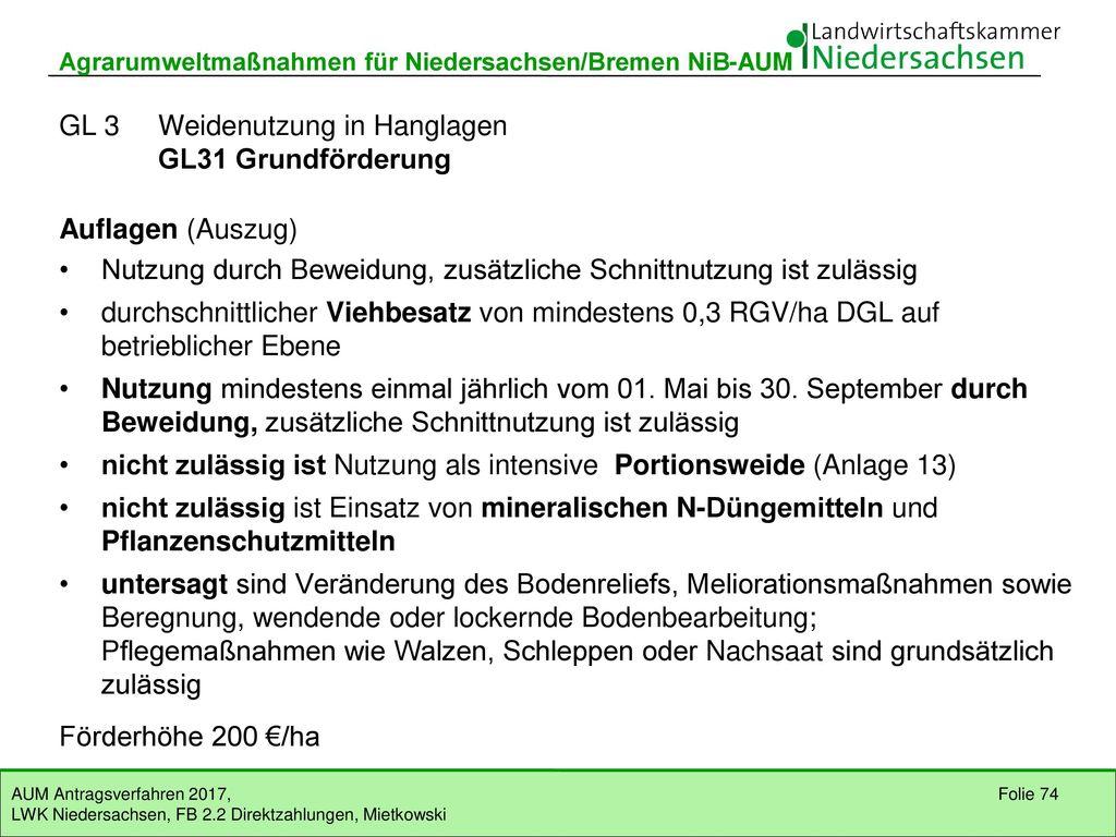 GL 3 Weidenutzung in Hanglagen GL31 Grundförderung (EFN)