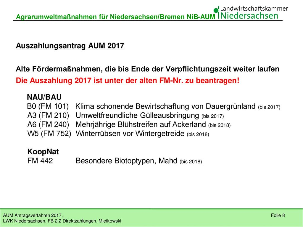 Auszahlungsantrag AUM 2017