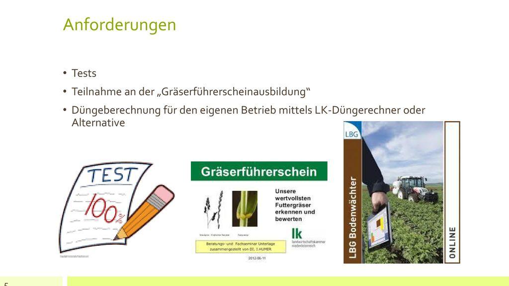 """Anforderungen Tests Teilnahme an der """"Gräserführerscheinausbildung"""