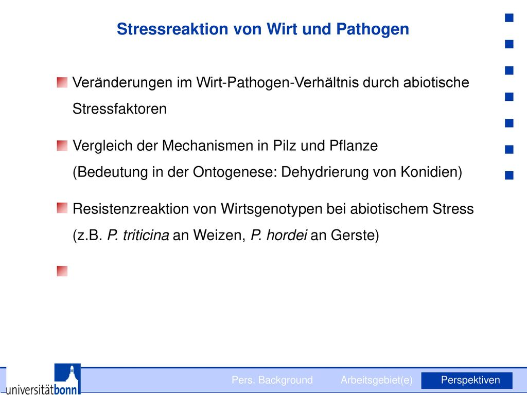 Stressreaktion von Wirt und Pathogen
