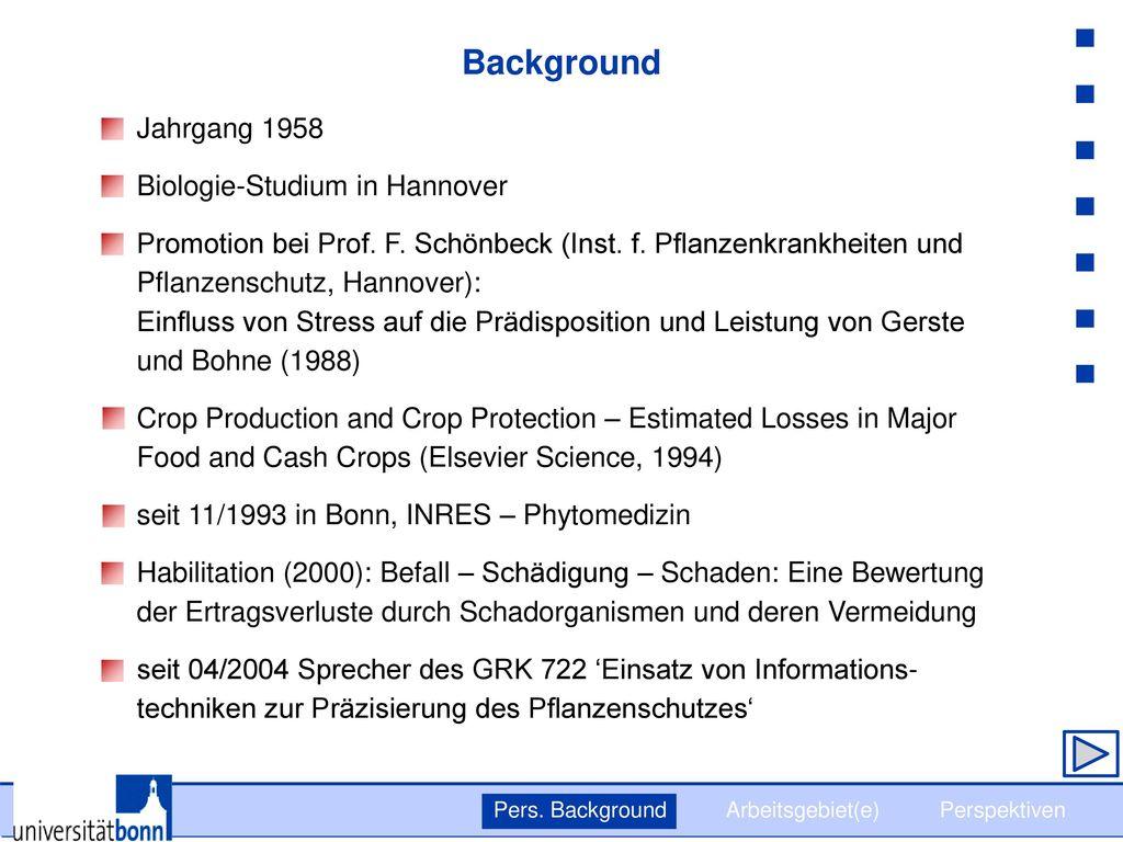 Background Jahrgang 1958 Biologie-Studium in Hannover