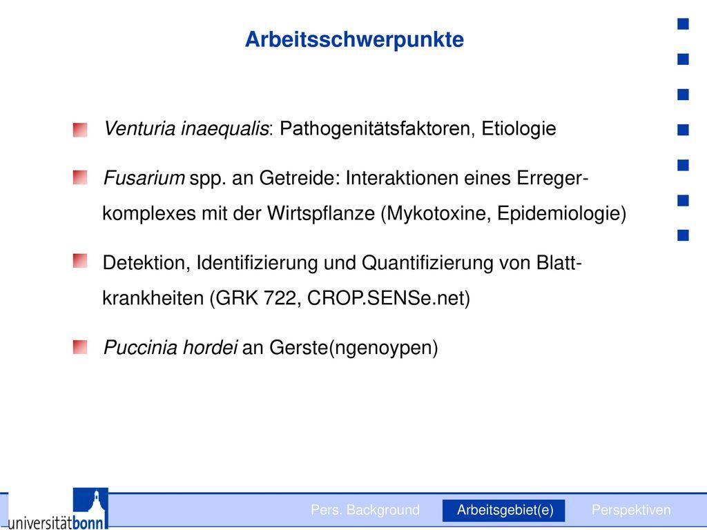 Arbeitsschwerpunkte Venturia inaequalis: Pathogenitätsfaktoren, Etiologie.