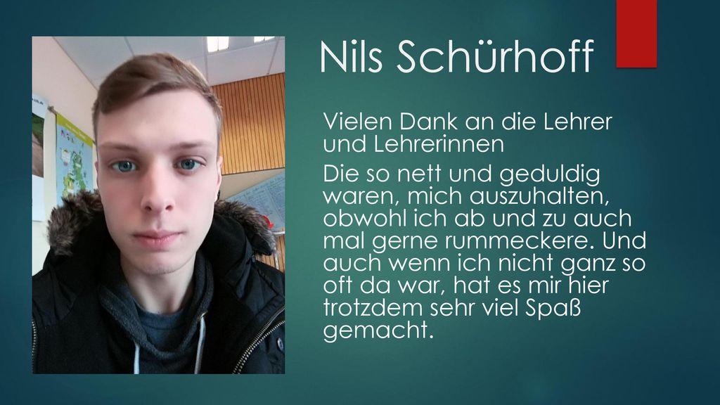Nils Schürhoff Vielen Dank an die Lehrer und Lehrerinnen
